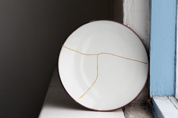 Kintsugi Plate, Reiko Kaneko, Studio Glaze, Vases, Fine Bone China, Made in Stoke on Trent