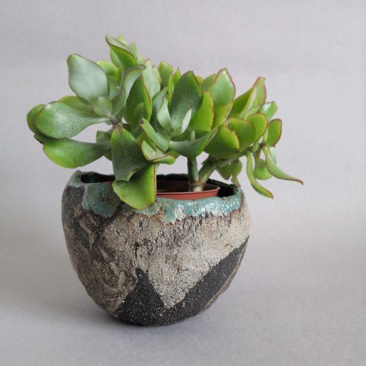 stoneware planter Volcanic Beach by Aga Robak